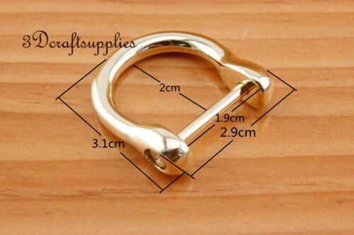 19mm Screw In D-Rings handbag and purse hooks Shackle Horseshoe light gold CK66