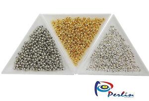 1200-Schmuckbastelsets-Metallperlen-Spacer-Zwischenteile-BEST-3mm-Gold-Silber