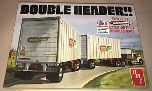 AMT-Double-Header-Tandem-Van-Trailers-1-25-scale-model-kit-new-1132