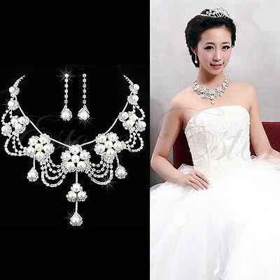 Crystal Rhinestone Pearl Necklace Earrings Plated Jewelry Set For Bridal Wedding