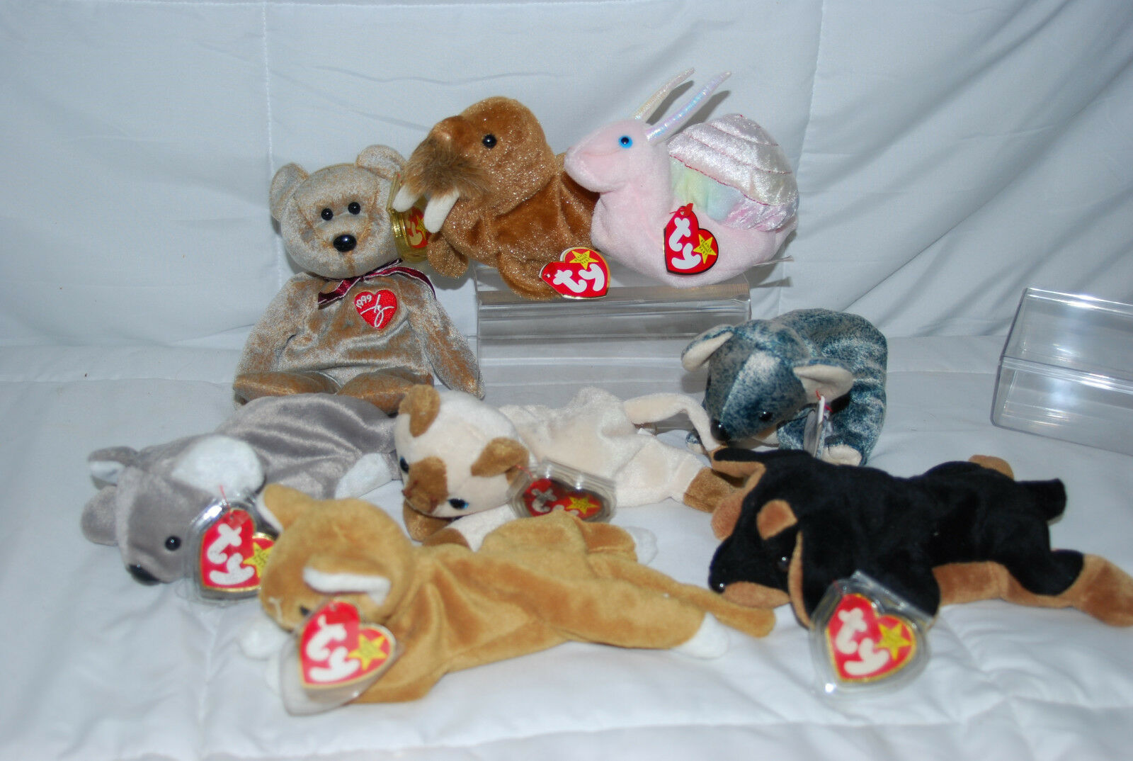 LOT OF 8 TY BEANIE BABY'S ASSORTED INCLUDED RETIRED 1993 NIP KITTY WITH TAGS