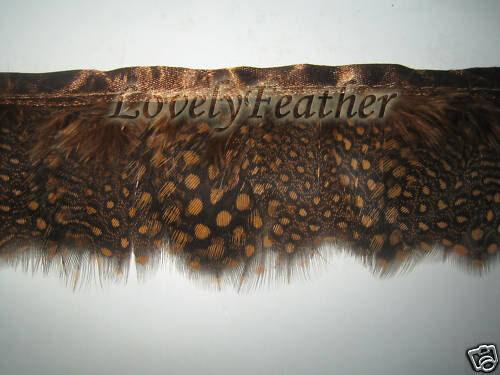 Trim environ 1.83 m De pintades feather Fringe Brun Couleur Or 2 Yd