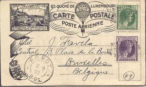 Luxembourg-034-PAR-BALLON-Exp-Phil-Luxembourg-8-sept-1927-034-l3-Ballon-carte-postale