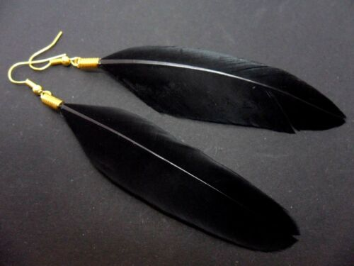 A PAIR OF LONG GOLD//BLACK FEATHER  DANGLY EARRINGS.