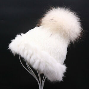 Fluffy-Raccoon-Fur-Pom-Ski-Hat-Winter-Warm-Rabbit-Fur-Knitted-Beanie-Cap
