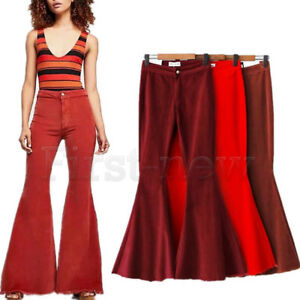 98781ac4729 Image is loading Vintage-Women-High-Waist-Corduroy-Flared-Trousers-Lady-