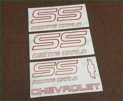 CHEVROLET Monte Carlo SS 1987 1988 Logo Premium Restoration Decals Stickers Kit