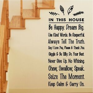 In This House Wall Words Funny House Rules Home Wall Quotes