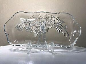 Vintage-1950-Jeannette-Glass-Clear-Camellia-11-75-034-Dresser-Vanity-Perfume-Tray