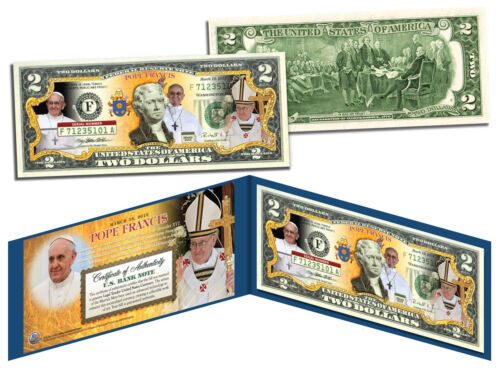 POPE FRANCIS Legal Tender U.S $2 Bill with Folio and Certificate  *MUST SEE*