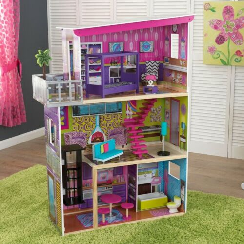 KIDKRAFT SUPER MODEL DOLLHOUSE WITH 11 ACCESSORIES *DISTRESSED