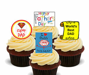 Super Dad Daddy Edible Cup Cake Toppers Standup Fairy Decorations