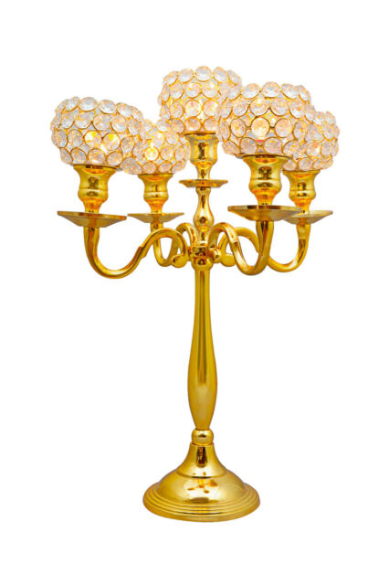 Gold 5 Arm Crystal Candelabra Votive Candle Holders Wedding Table Centerpieces