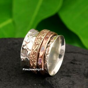 925-Sterling-Silver-Spinner-Ring-Wide-Band-Meditation-Statement-Jewelry-A488