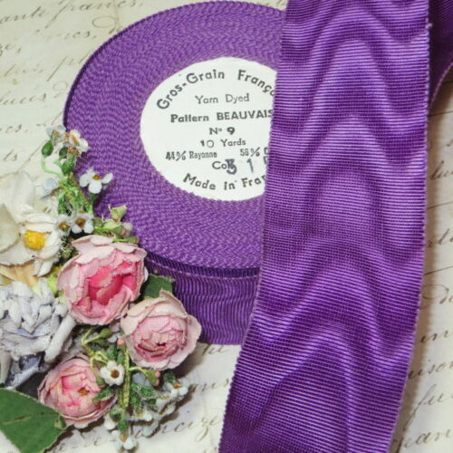 "1y VTG 1.5/"" FRENCH PURPLE MOIRE PETERSHAM RIBBON for CLOCHE HAT COCARDE FLOWER"