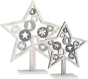 Set-di-due-Stella-decorativa-motivo-natalizio-shabby-chic-legno-Avvento