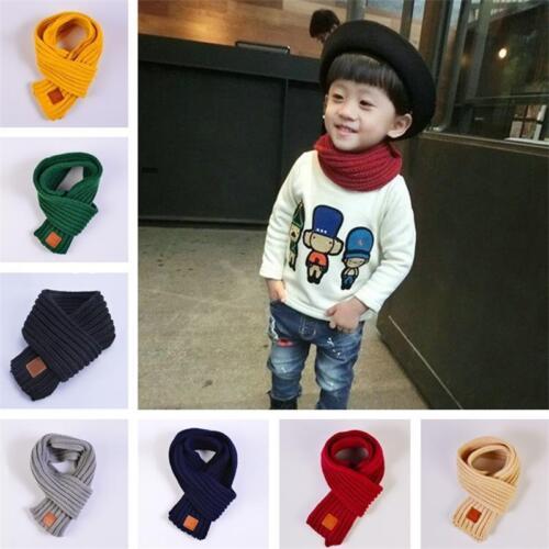 Cotton Winter Baby Scarf Children Girls Boys Knitted Wool Kids Warm Neck Shawl