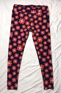 103ba0beb78926 Lularoe Tall And Curvy Leggings Navy Blue And Pink Floral   eBay
