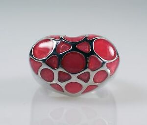 Silver-Tone-Pink-Enamel-Heart-Shaped-Dome-Ring