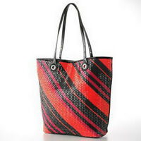Daisy Fuentes Lydia Red Diagonal Sequin Tote Shopper Bag