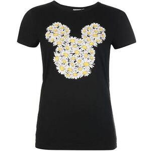 Courageux Disney T-shirt Top Femme Mickey Minnie Tête Marguerites Xs S M L Noir Neuf Forme éLéGante
