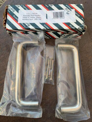 2 x Roundbar Pull Handles Stainless Steel AISI-304 16mm x 150mm Satin
