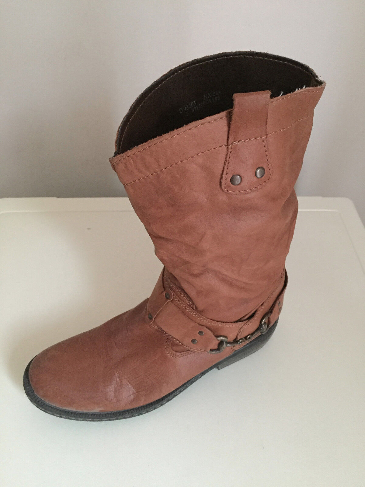 Damens Next Ankle Soft Leder  boots Tan Größe 5