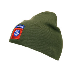US Army 82nd Airborne Patch Watch Cap Knit Cap Beanie Hat Round Cap WWII Olive