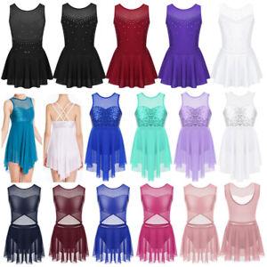 Girl-Ballet-Dance-Leotard-Dress-Gymnastics-Skating-Costume-Sleeveless-Dancewear