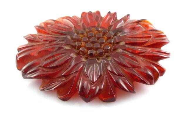 BIG Vintage 1930s 40s BAKELITE Intricately Hand Carved FLOWER Design Brooch PIN