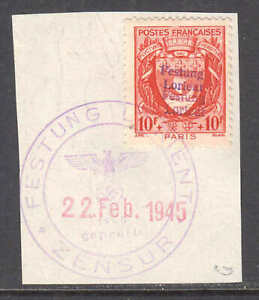 FRANCE-B128-GERMANY-OCC-FESTUNG-LORIENT-LOCAL-OVERPRINT-CDS-VF-SIGNED-SOUND