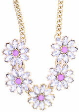 Gold tone pink clear crystal daisy sunflower flower chain necklace 50s 60s retro