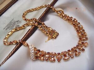 VINTAGE-SIGNED-AUSTRIA-SCHOFFEL-CHAMPAGNE-MARQUISE-MULTI-TONE-CRYSTAL-NECKLACE