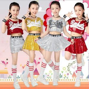 62121b9145f4 Boys Girls Dance Wear Costume Kids Sequins Modern Hip Hop Clothes ...