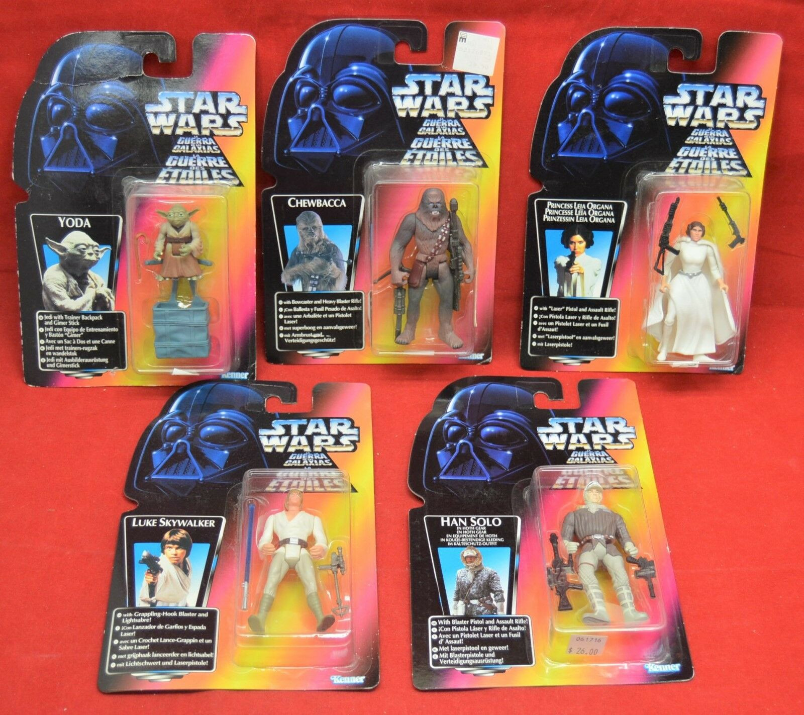 Star Wars rot Card Guerre Des Etoiles Yoda Luke Han Leia Chewy Figures lot of 5