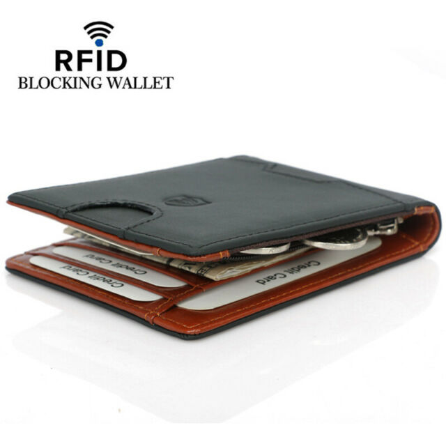 89d72c82ca01 Men's Genuine Leather Slim Billfold Wallet RFID Blocking Card Holder Money  Clip