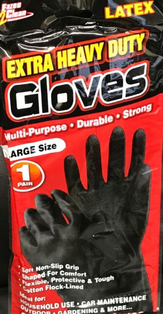 EXTRA HEAVY DUTY BLACK HOUSEHOLD WORK GARDEN INDUSTRIAL GLOVES RUBBER LATEX