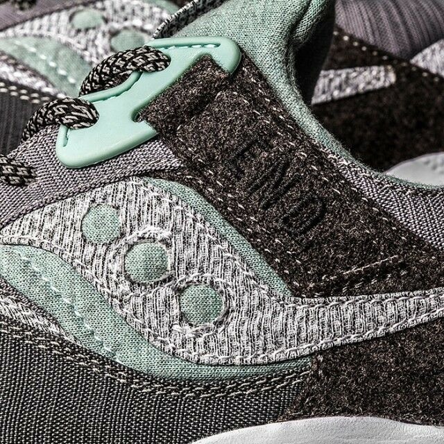 d76293612137 Details about END x Saucony Grid 9000  White Noise  Grey White Green Custom  Box