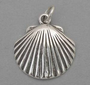 New-SCALLOP-CLAM-SEASHELL-Nautical-Solid-Sterling-Silver-925-Charm-Pendant-2387