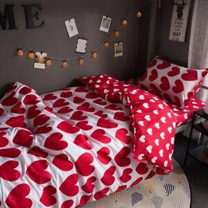 Red-Heart-Printing-Bedding-Set-Duvet-Quilt-Cover-Sheet-Pillow-Case-Four-Piece