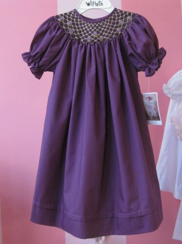 NWT Will/'beth Boutique Bishop Smocked Plum Dress Girls 6X Holiday Birthday Pics