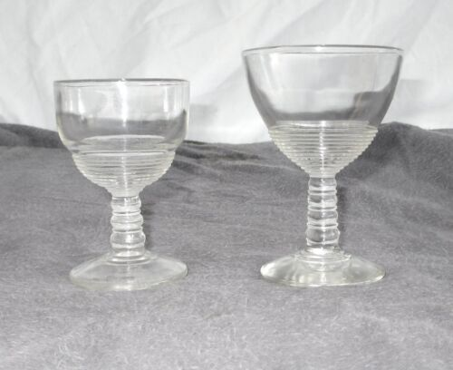 "2 Cordial Liqueur Glasses Pressed Glass Ribbed Pedestal Stem 4"" and 3.5"""