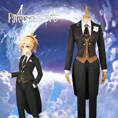 Fate//Apocrypha Mordred Noir Uniforme Cosplay Costume Manteau Gilet shirt cravate pantalon :