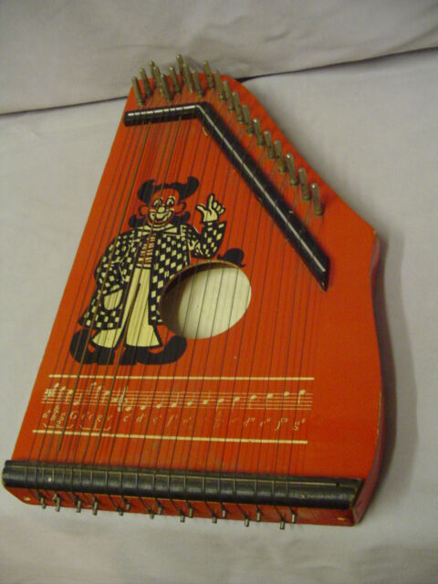 Toy Harp Wood With Clown Play's Good 13.5 x8.25  Vintage