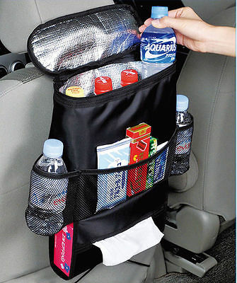 Car Back Seat Organiser Tidy Hot/Cold Insulated Cooler Bag Tissue Drinks Holder