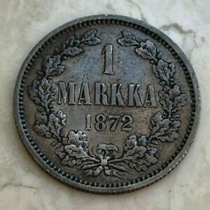 1872 Finland 1 One Markka - Nice Silver