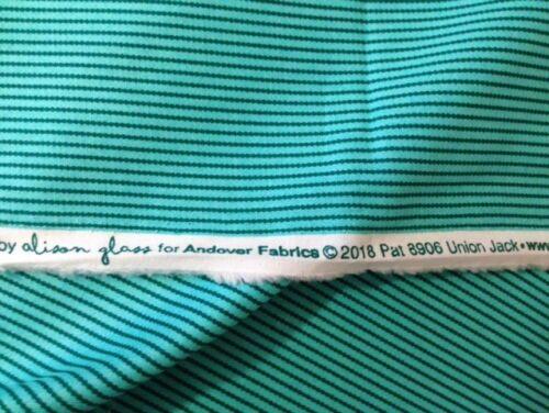 Road Trip Turquoise Vert à rayures par Alison verre//Andover FQ-MT 100/% coton