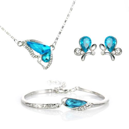 Femmes Fête de Mariage Cristal Strass Papillon collier boucles d/'oreilles Bijoux Set