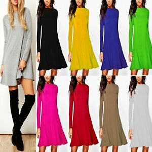 Women-039-s-Ladies-Plain-Long-Sleeve-A-Line-Flared-Swing-Skater-Dress