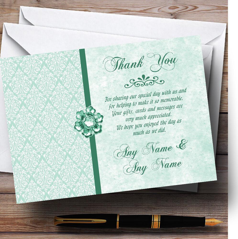 Pâle vert Hommes the Bijou Vintage Damassé Mariage remercieHommes Personnalisé cartes remercieHommes Mariage t 741181
